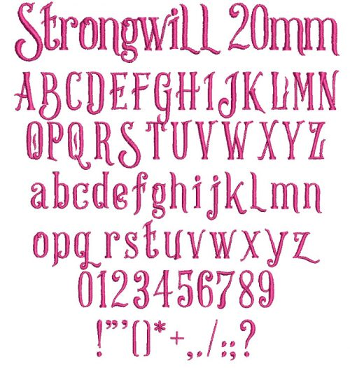 Strongwill 20mm Font