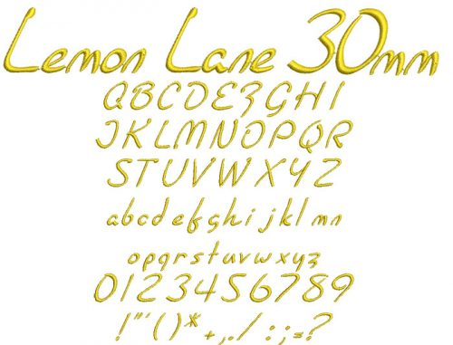 Lemon Lane 30mm Font