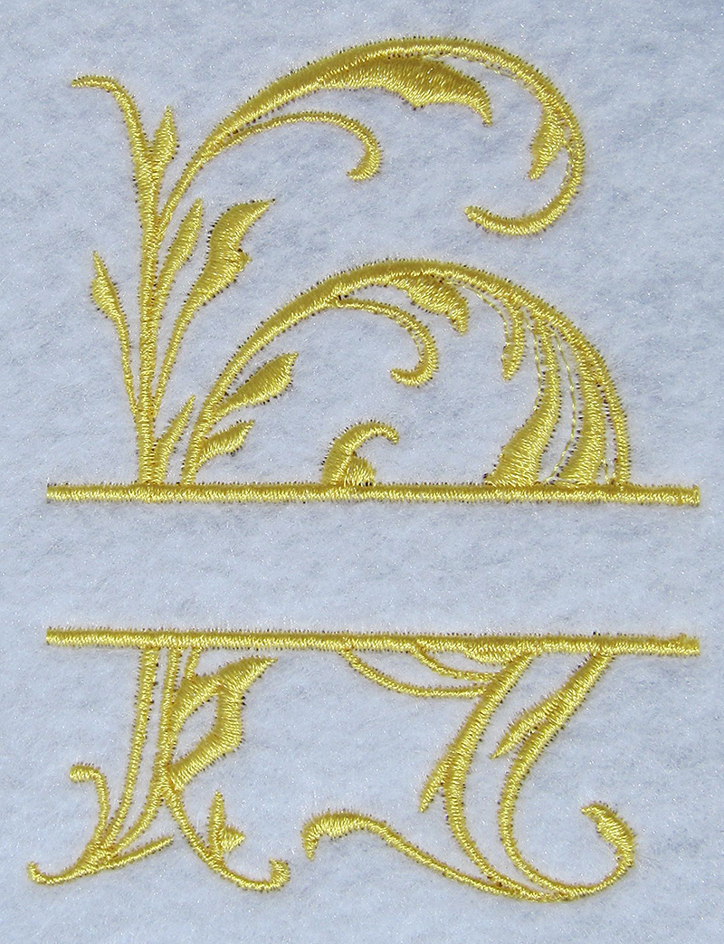 split monogram esa font sew out