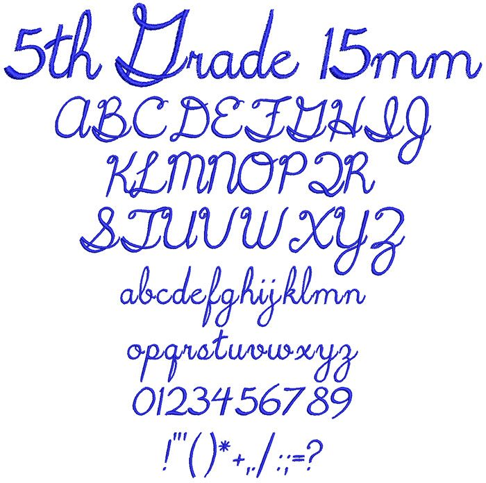 5th Grade 15mm Font