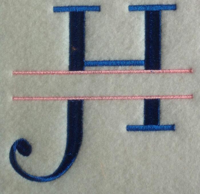 Curl split monogram sew out