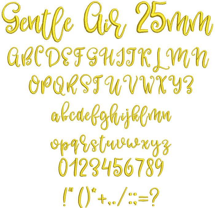 Gentle Air 25mm Font