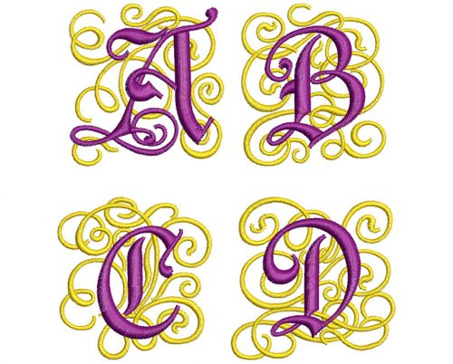 ornate monogram letters icon