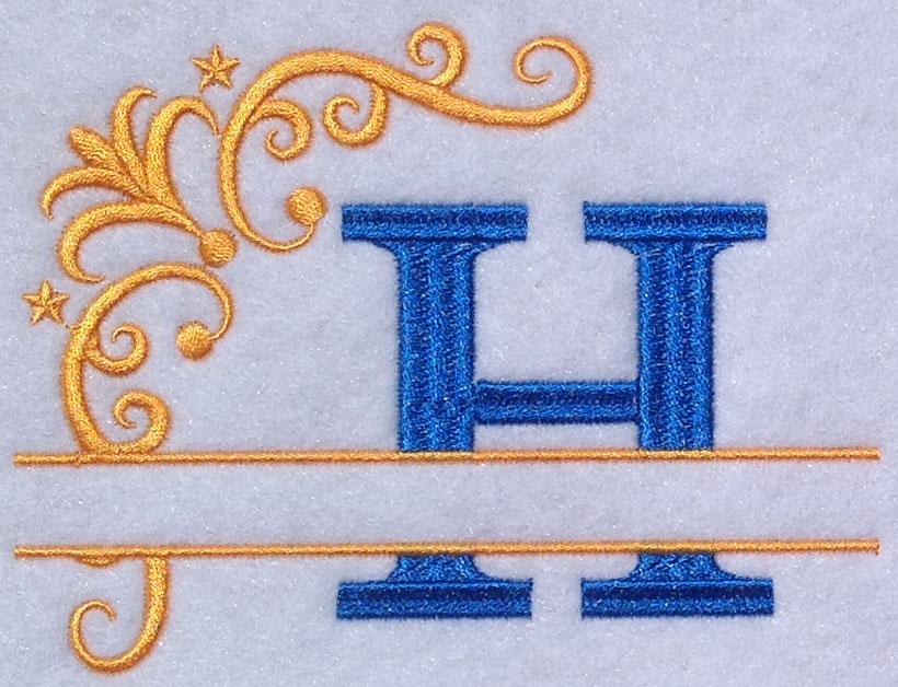 split 2 color monogram esa font sew out