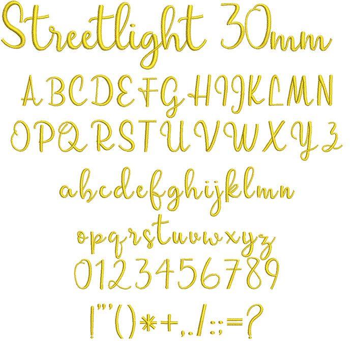 Streetlight 30mm Font