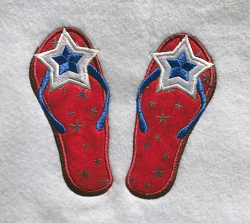 4th of July filp flops embroidery design