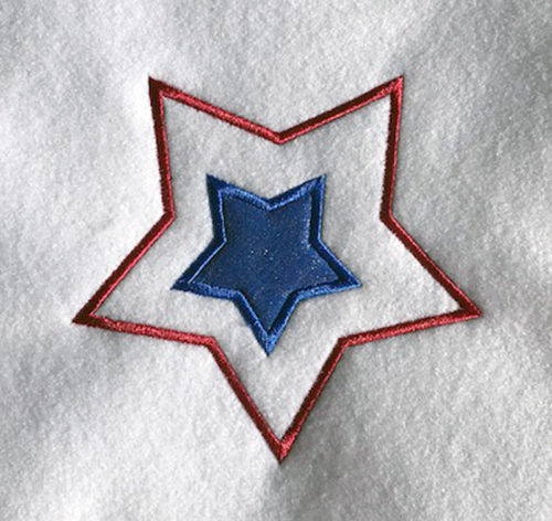4th of july star applique embroidery design