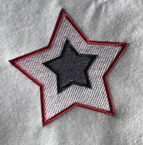 4th of July mylar star embroidery design
