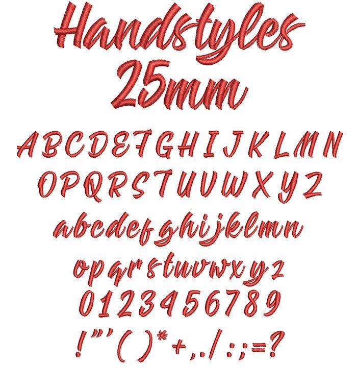Handstyles 25mm Font