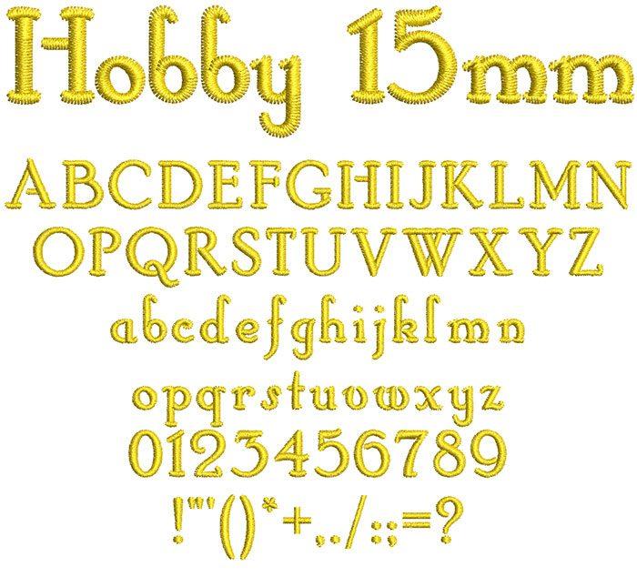 Hobby 15mm Font
