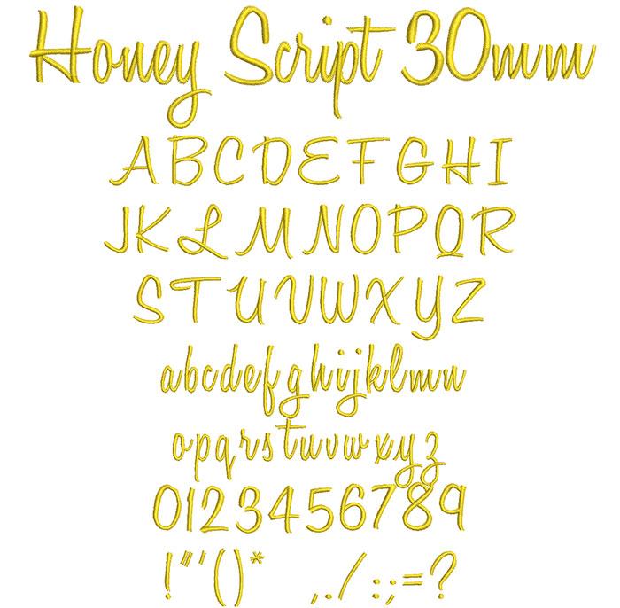 Honey Script 30mm Font