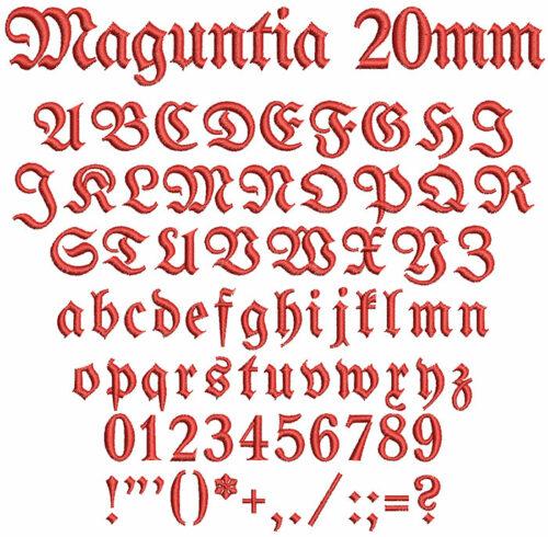 Maguntia 20mm Font