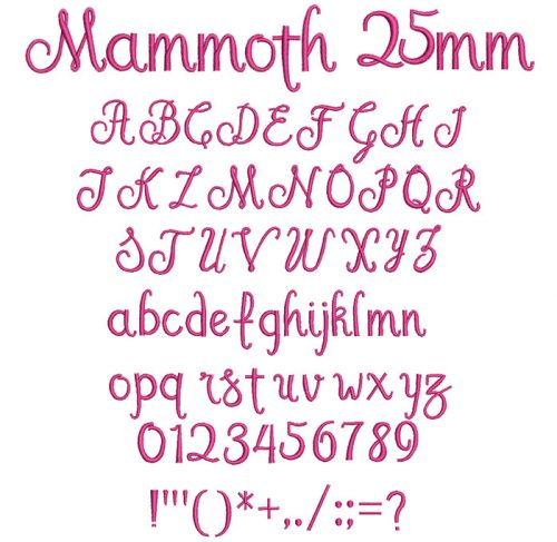 Mammoth 25mm Font
