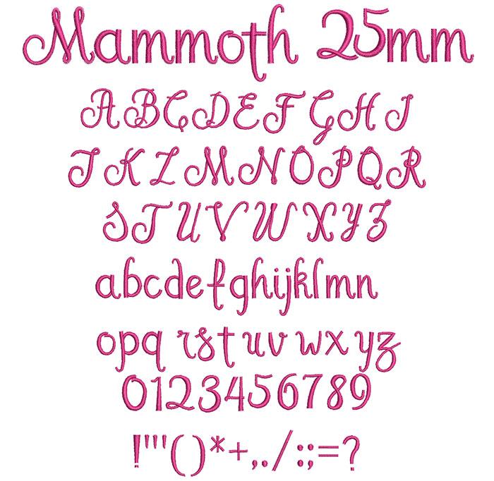 Mammoth 25mm Font