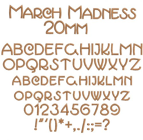March Madness 20mm Font