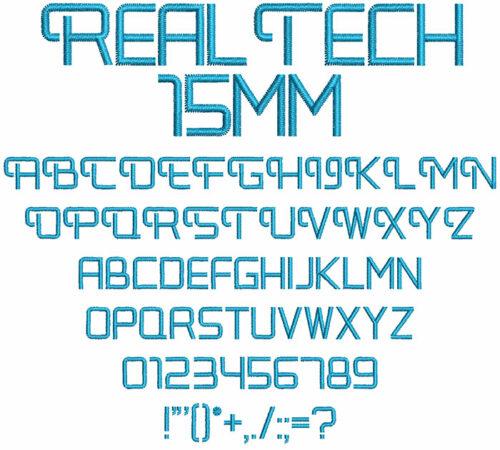 Real Tech 15mm Font