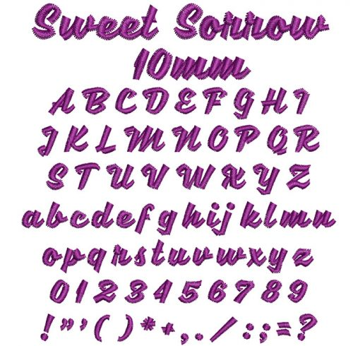 Sweet Sorrow 10mm Font