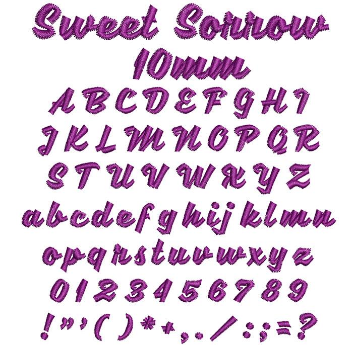 Sweet Sorrow 10mm Font