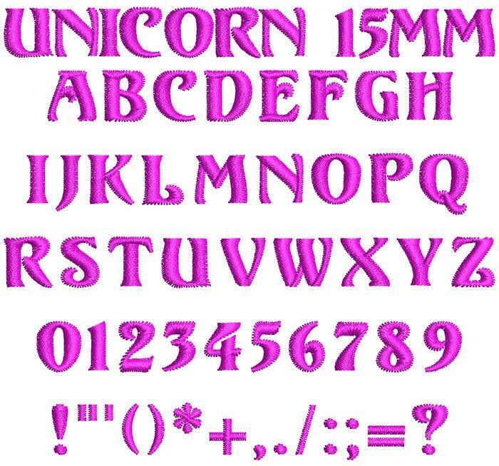 Unicorn 15mm Font