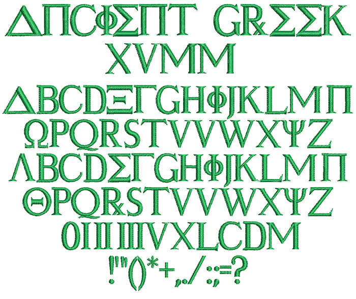 Ancient Greek 15mm Font 1