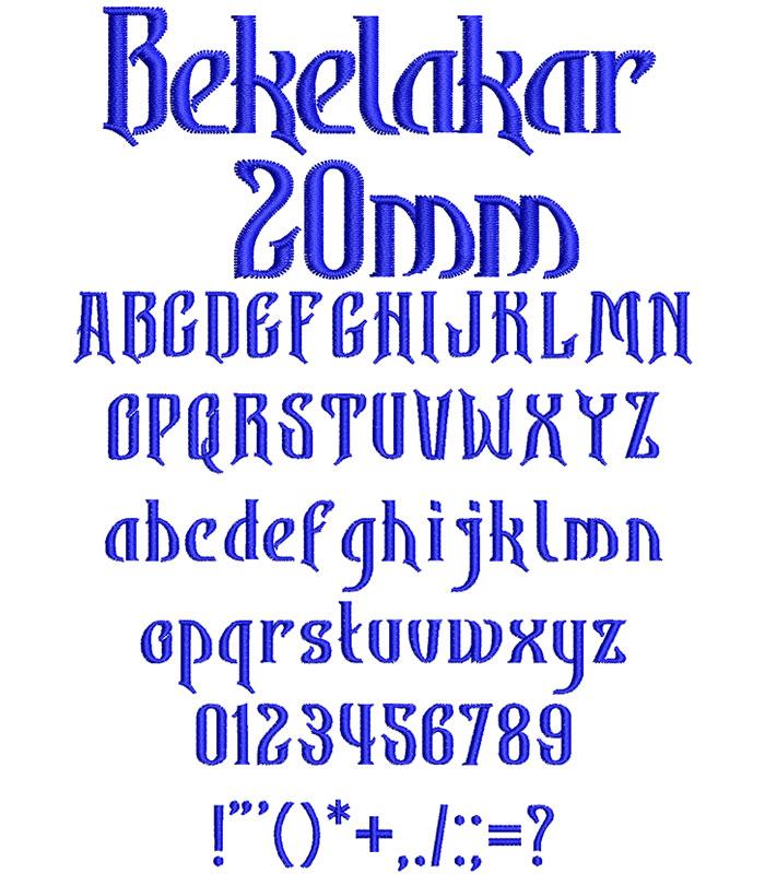 Bekelakar 20mm Font 1