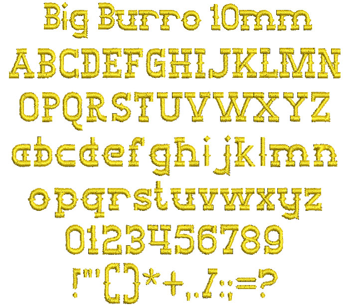 Big Burro 10mm Font 1