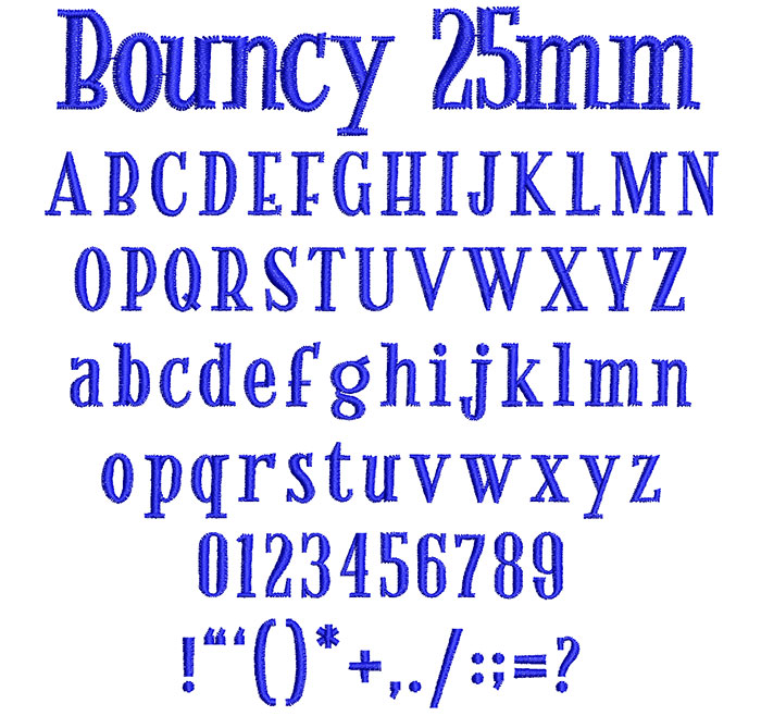 Bouncy 25mm Font 1