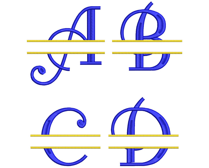 Curl Split Monogram 100mm Font 2