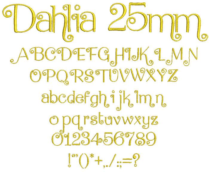 Dahlia 25mm Font 1