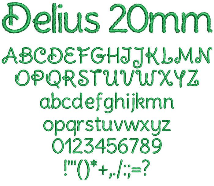 Delius 20mm Font 1