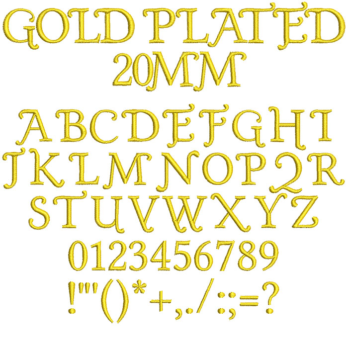 Gold Plated 20mm Font 1