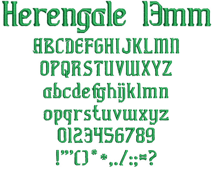 Herengale 13mm Font 1