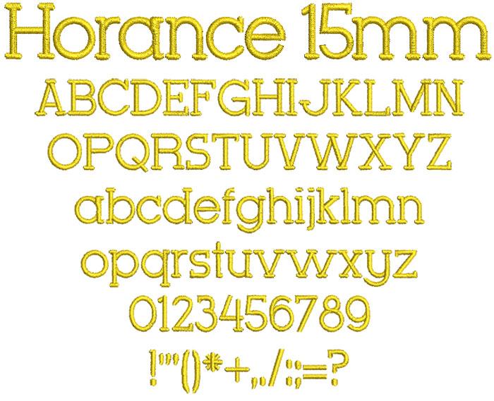 Horance 15mm Font 1