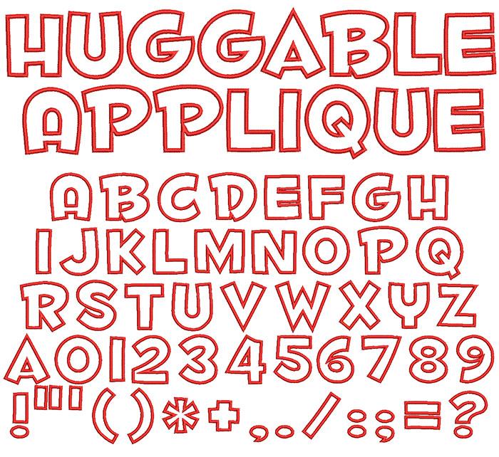 Huggable Applique 50mm Font 1