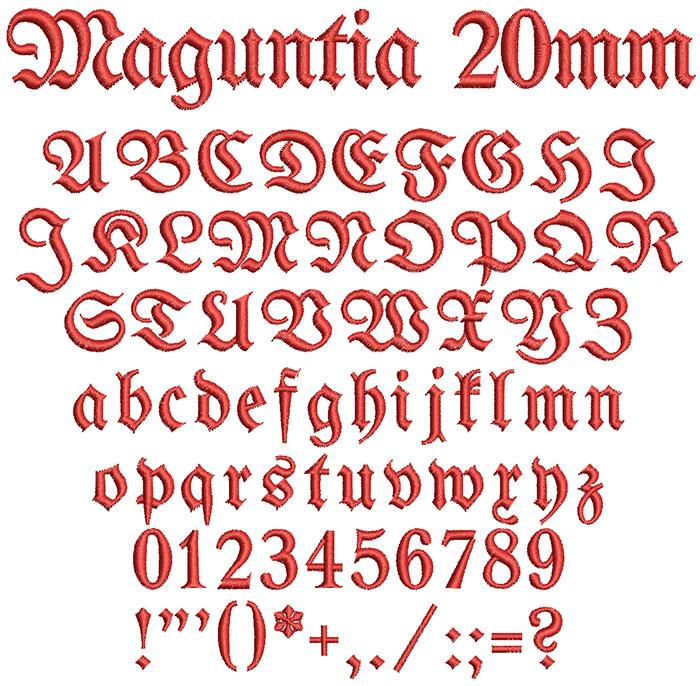 Maguntia 20mm Font 1