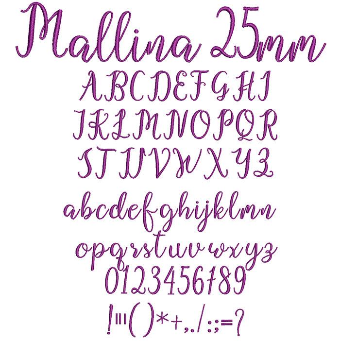 Mallina 25mm Font 1