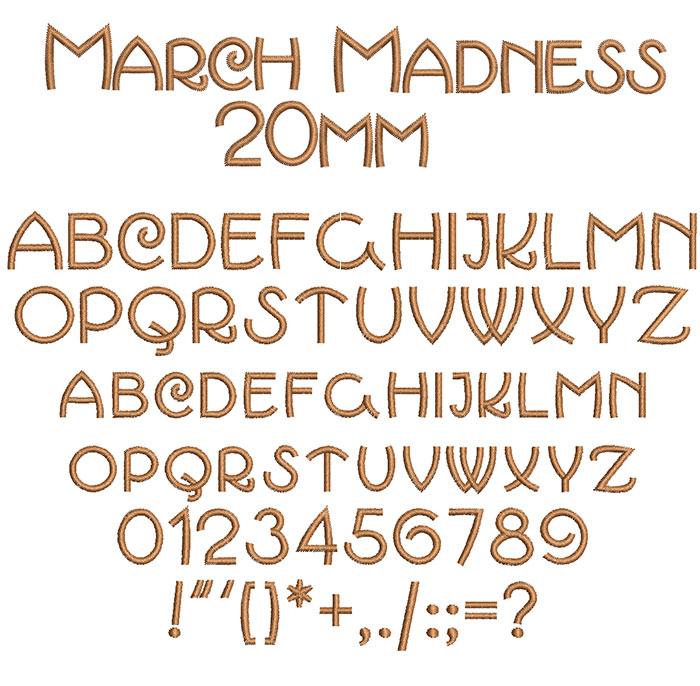 March Madness 20mm Font 1