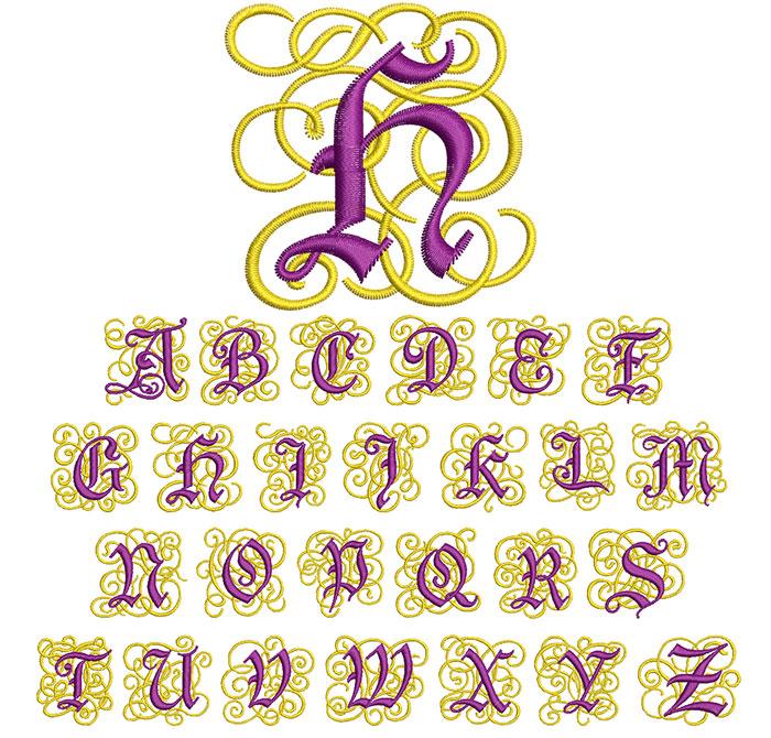 Ornate Monogram 50mm Font 1