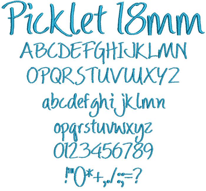 Picklet 18mm Font 1