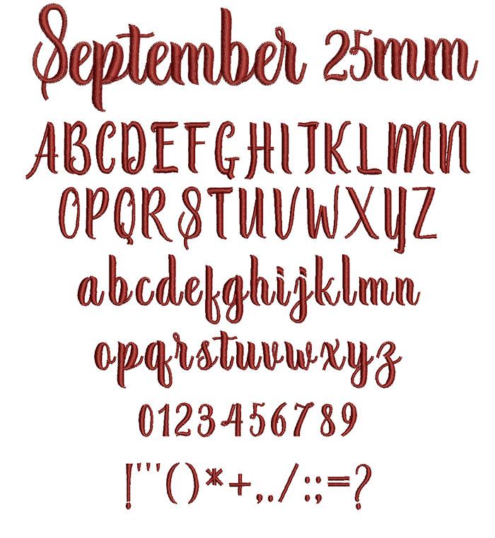 September 25mm Font 1