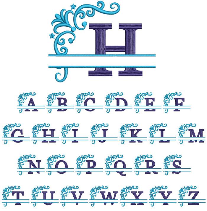 Split 2 Color Monogram 100mm Font 1