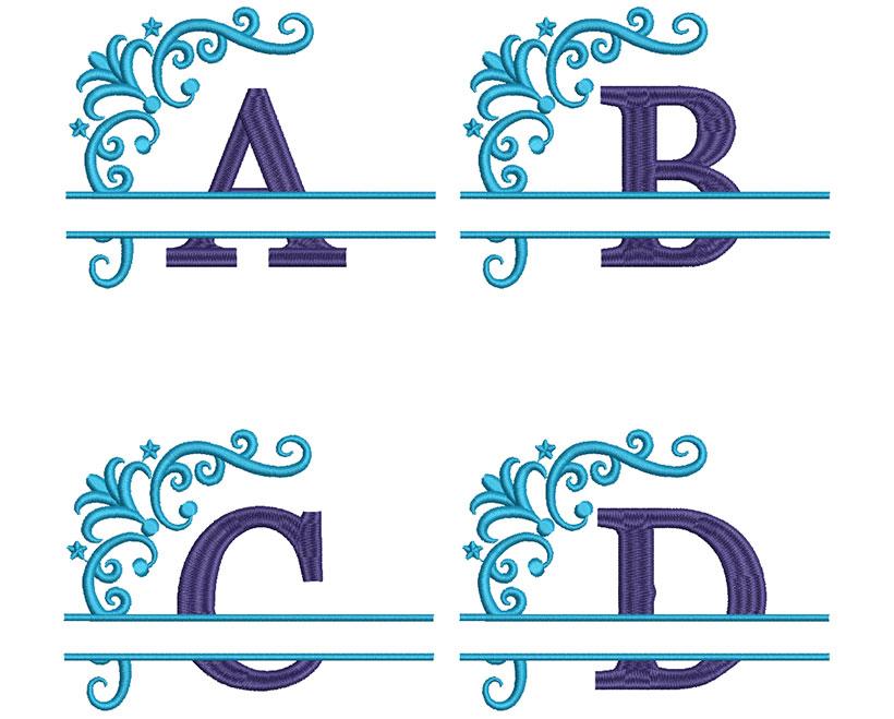 Split 2 Color Monogram 100mm Font 2