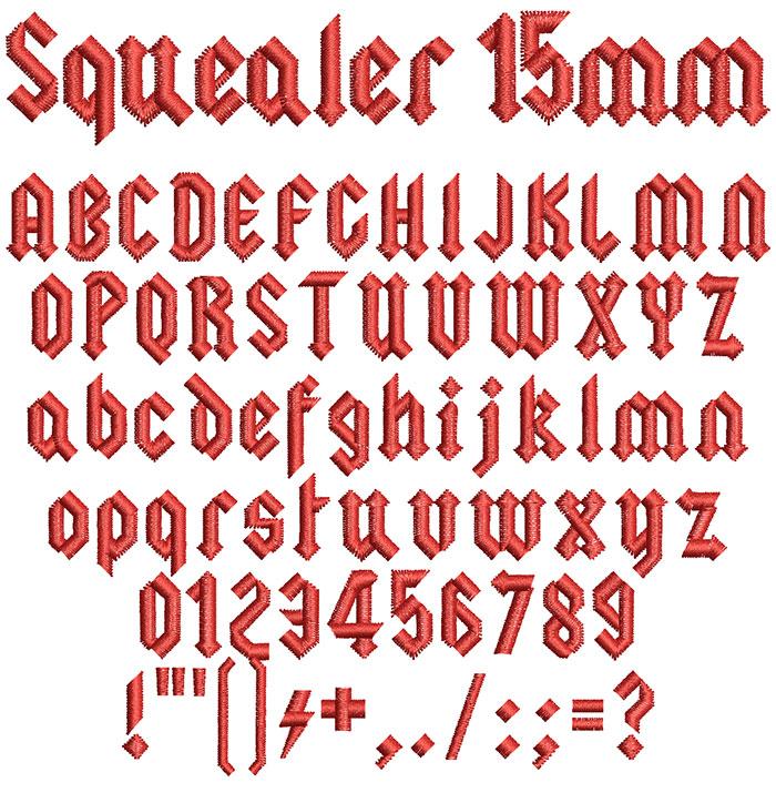 Squealer 15mm Font 1