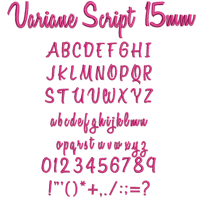 Variane Script 15mm Font 1