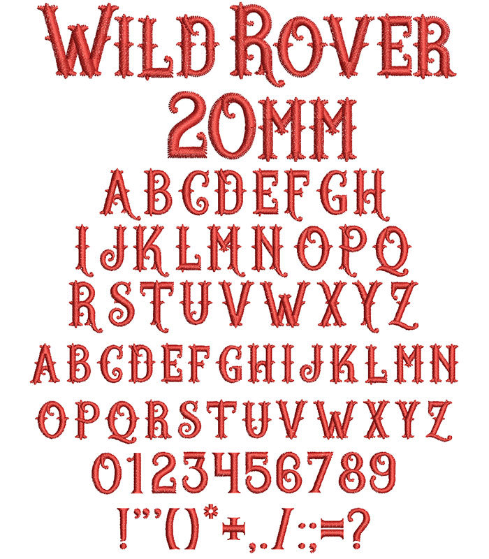 Wild Rover 20mm Font 1