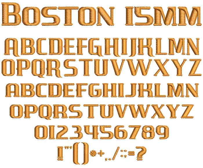 Boston 15mm Font