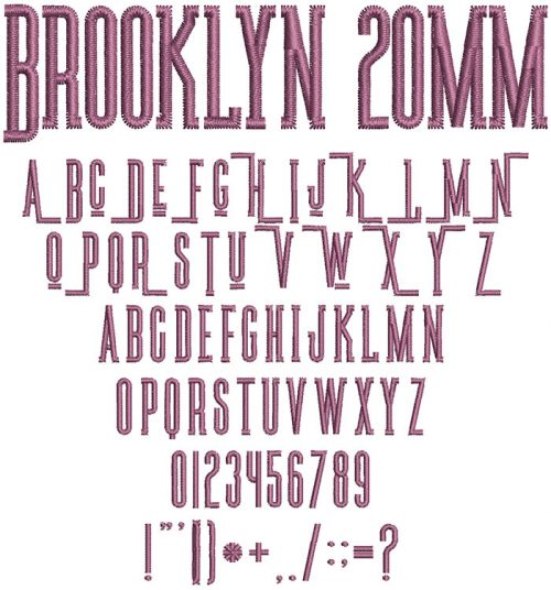 Brooklyn 20mm Font