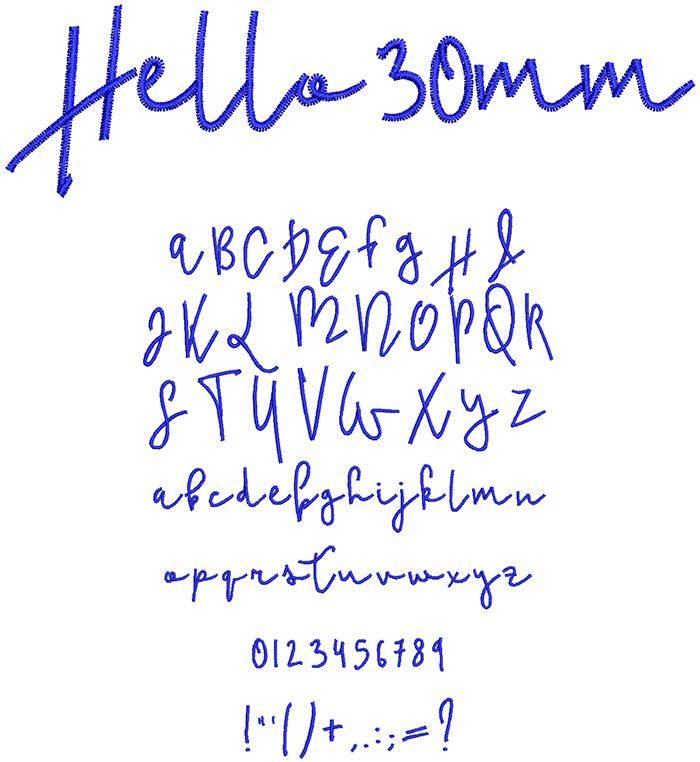 Hello 30mm Font