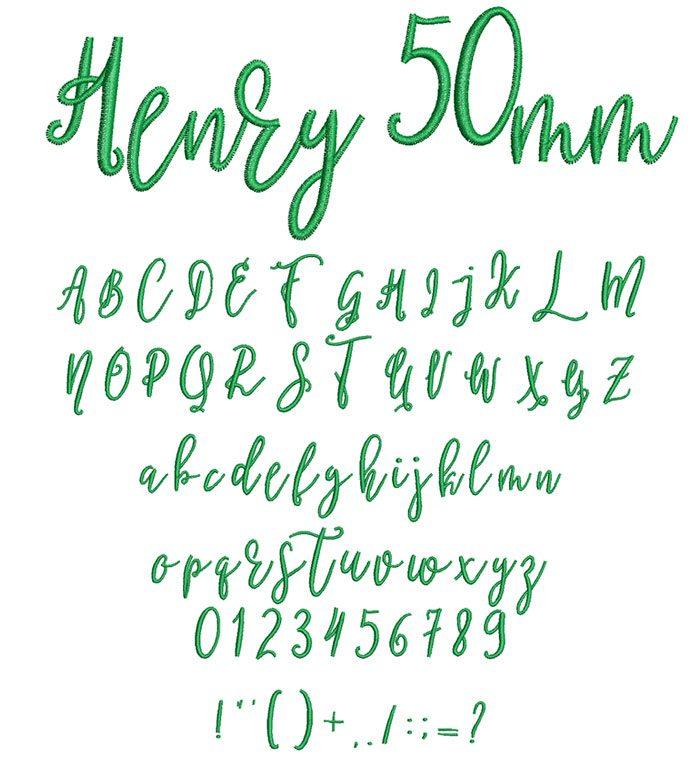Henry 50mm Font