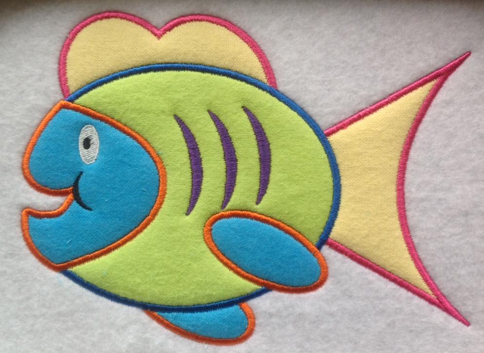 fish applique embroidery design